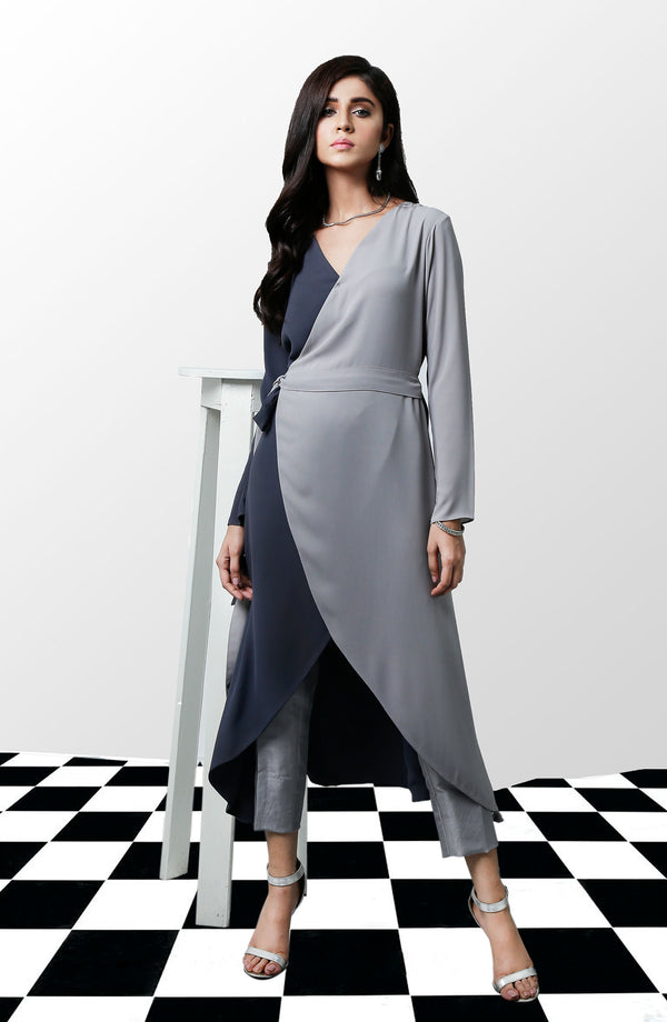 Dress in light and dark grey for party wear front view