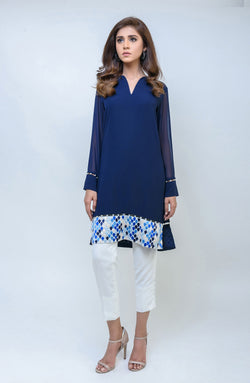 Blue Kurta with embroidered daman.