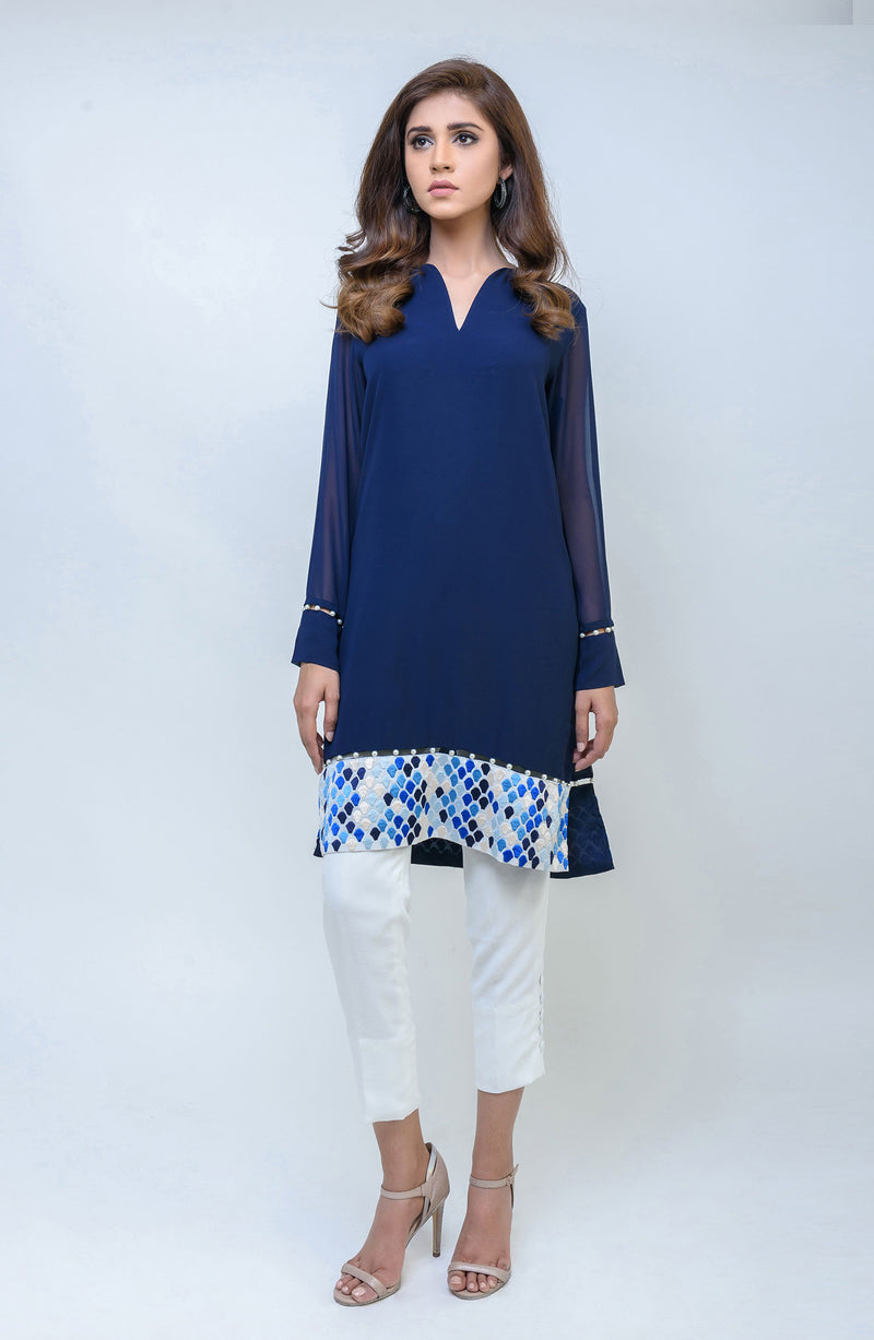Women's casual luxury pret blue kurta tunic with shaded embroidery on the daman