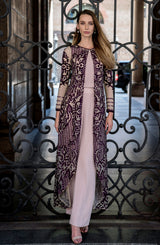 APPLIQUE JACKET FULL LENGTH  IN PLUM PIRPLE  AND BEIGE NUDE  SLIP CAMISOLE AND MODERN WIDE LEG PANTS