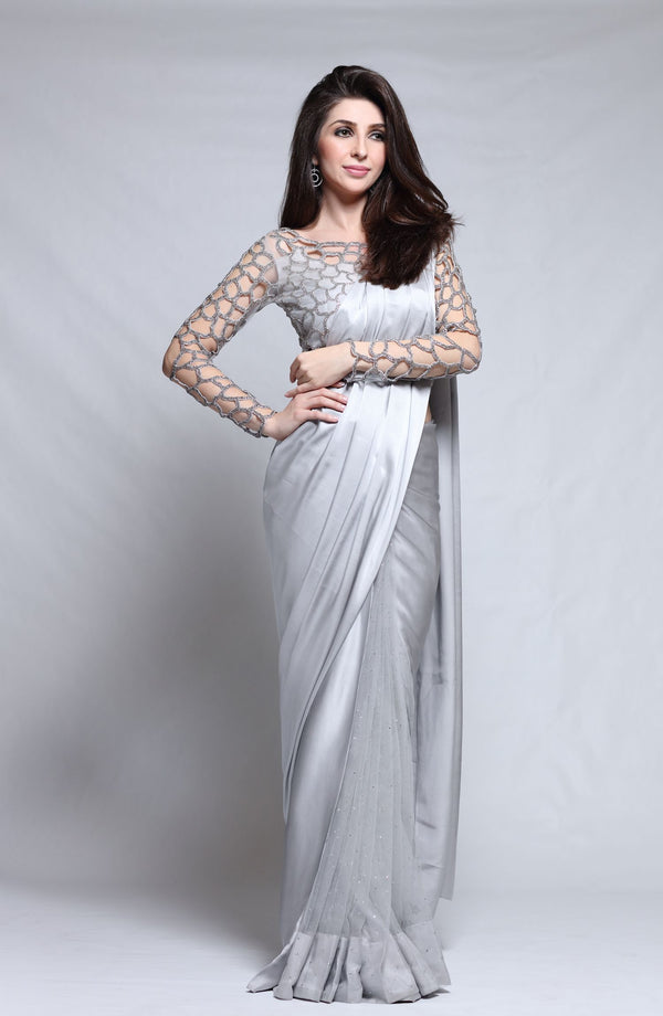 Grey Sari with Silver cutwork blouse (2 Pc set).