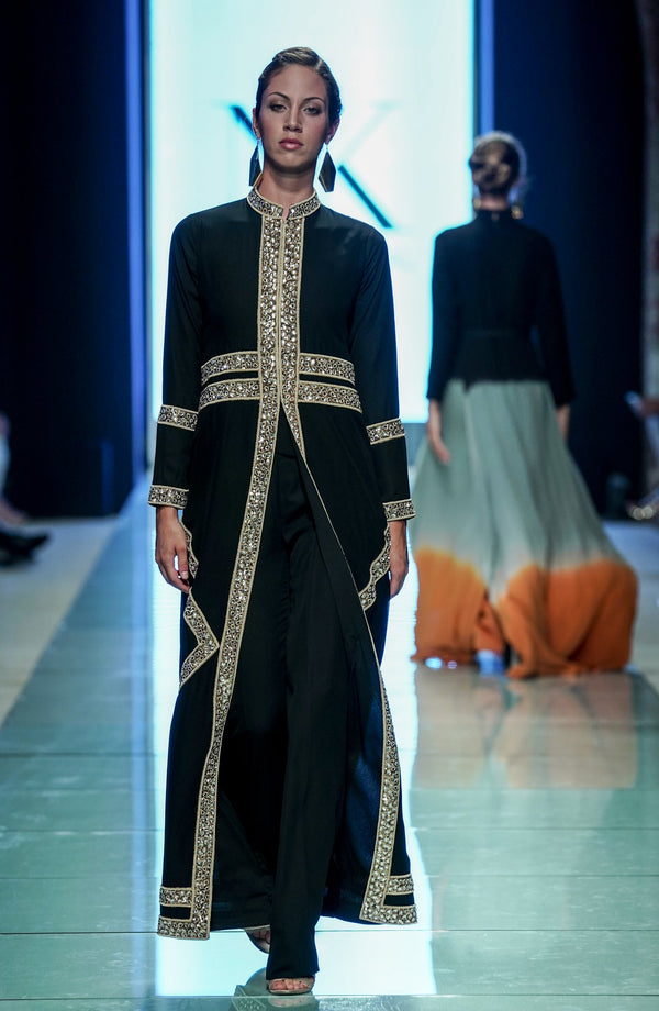Black Long Jacket- with handcrafted Kundun.