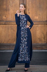 LONG SHIRT DRESS IN NAVY BLUE HAND EMBROIDERED WITH ORNAGE WHITE AND GREY SEQUINS PAIRED WITH NAVY BOOTCUT PANTS