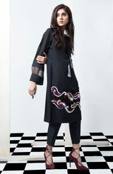 BLACK KURTA MID LENGTH WITH ORGANZA INSERT AND DENSE EMBROIDERY IN PINK AND YELLOW PAIRED WITH BLACK CIGARETTE PANTS