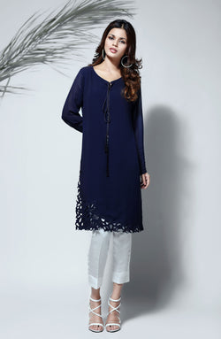 NAVY BLUE KURTA  WITH HAND CRAFTED CUTWORK DAMAN AND PINTUCKS DETAILED SLEEVES