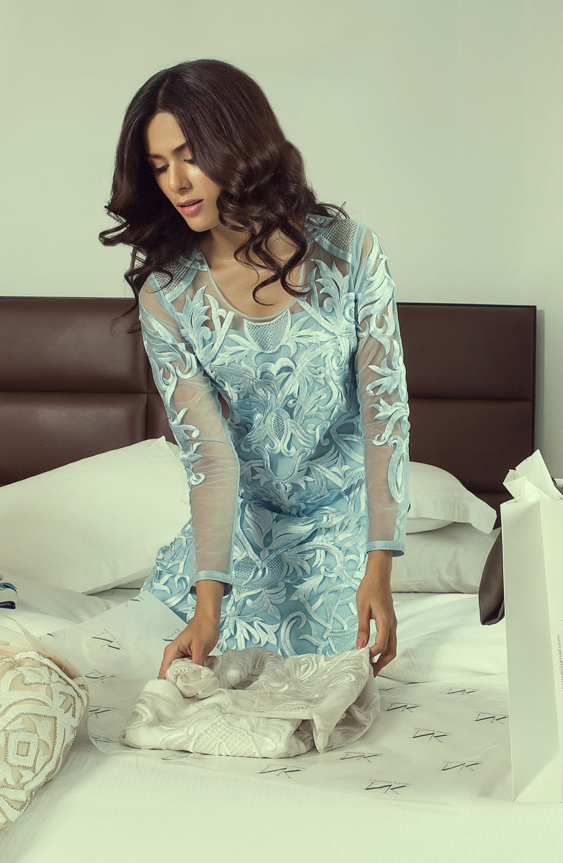 LIGHT BLUE EMBROIDERY  KURTA ON NET WITH CIGARTTE PANTS FOR PARTYWEAR
