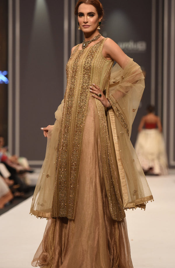 Gold Tunic & Silk Lehenga (three piece set).