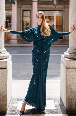 TEAL KAFTAN WITH HAND WORKED MIRROR WORK IN TILLA METALLIC THREAD WITH A TEAL SLIP DRESS