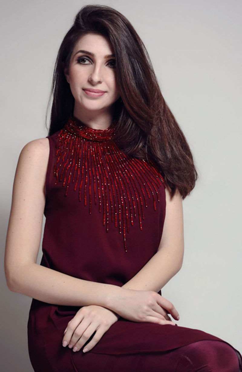 Maroon Dress-Crystal detailed neckline (2 pc set)