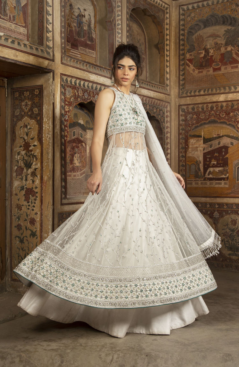 White lehenga in pure silk Jamawaar