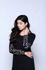BLACK TUNIC WITH HANDCRAFTED APPLIQUE SLEEVES (TWO PIECE SET)