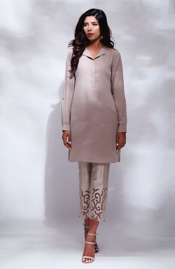 NUDE BEIGE Kurta WITH COLLAR AND CUFFS WITH APPLIQUE DETAIL RAW SILK CIGARETTE PANTS