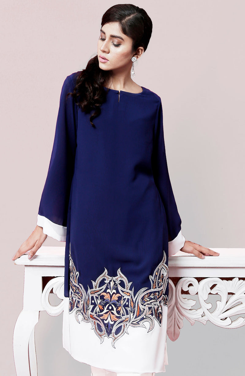 Navy Blue tunic with embroidery.