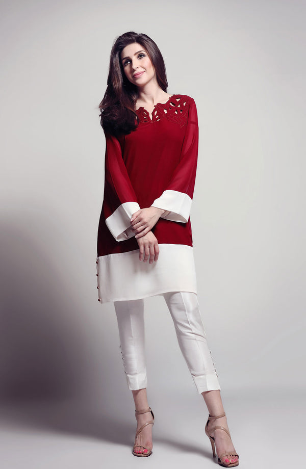 Burgundy - Cut out colour - block tunic (One piece)