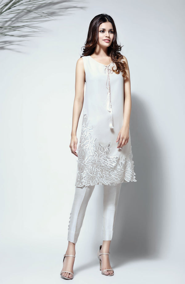 White Dress - Chiffon on Organza (Two piece set)