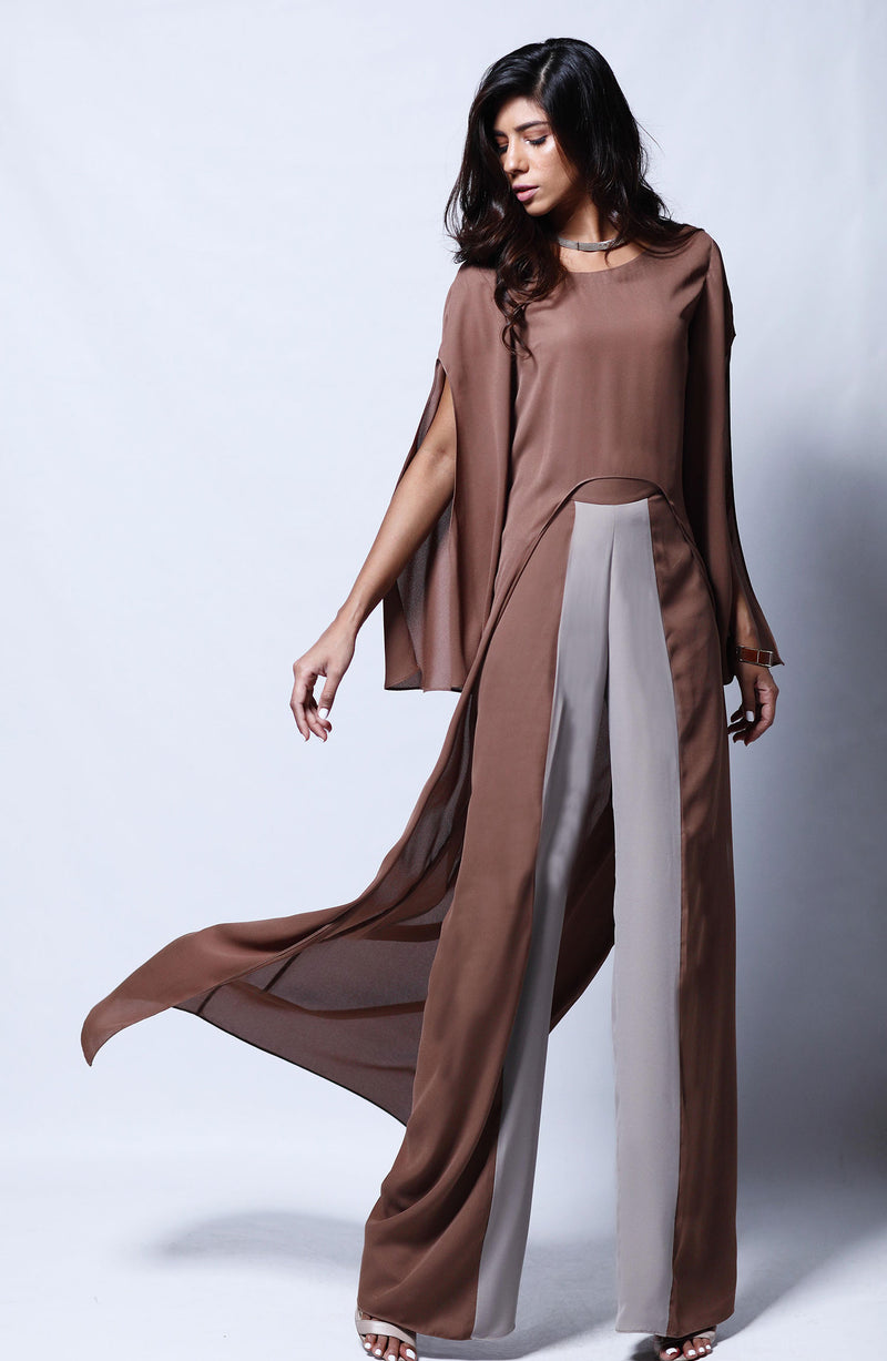BROWN Kurta CUT TO A HIGH AND LOW LENGTH PAIRED WITH COLOUR BLOCKED PANTS