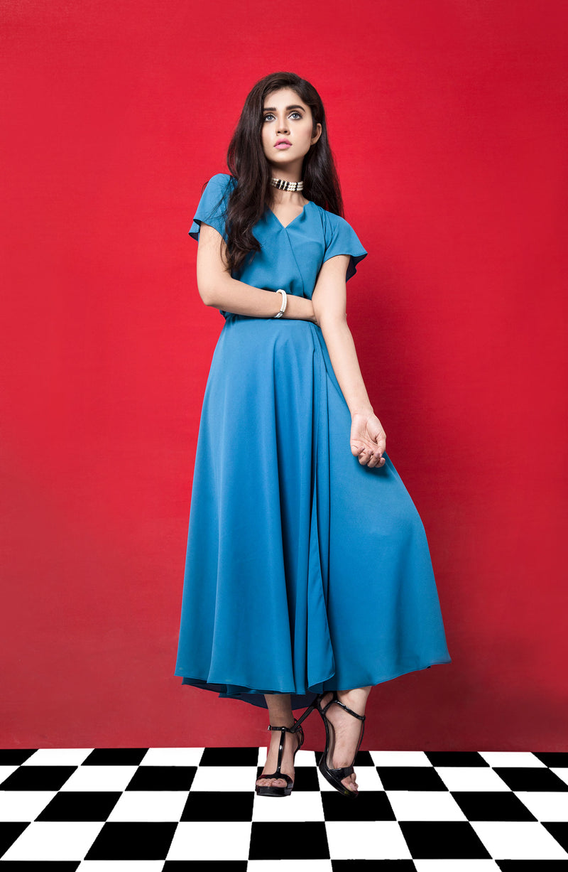 BLUE CROSS OVER DRESS COCKTAIL PARTYWEAR IN A MIDI LENGTH