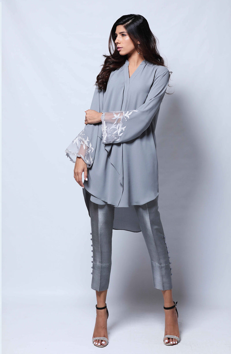 GREY Kurta  WITH EMBROIDERED SLEEVES  AND RAW SILK CIGARETTE PANTS