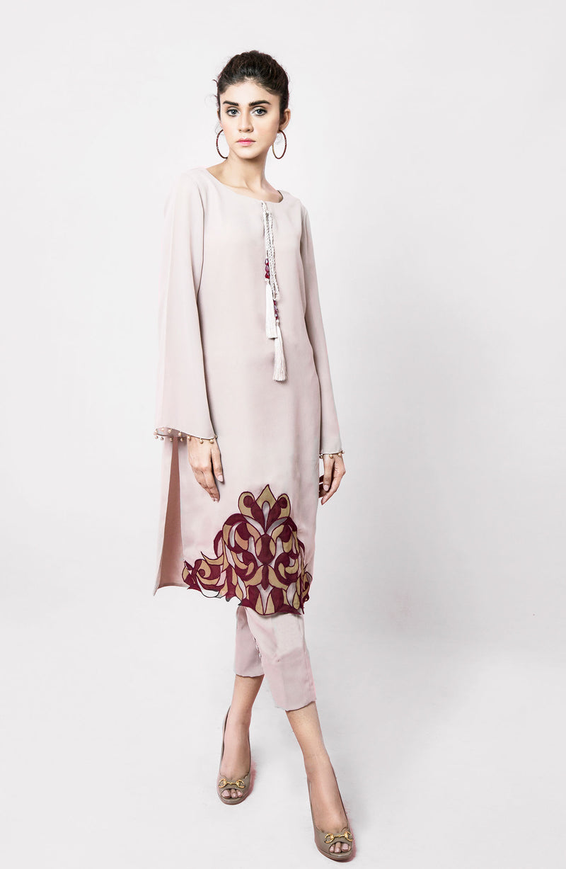 NUDE TUNIC KURTA WITH MULTI APPLIQUE HUES DAMAN AND TASSEL NECKLINE