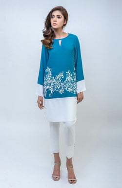 TEA GREEN KURTA COLOUR BLOCK TUNIC WITH WHITE EMBROIDERY AND V NECKLINE