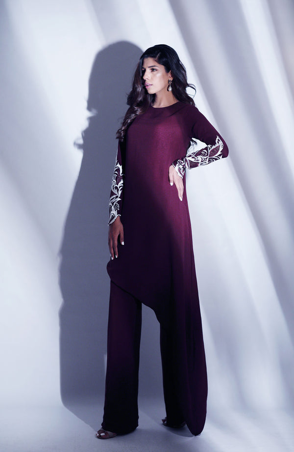 VIOLET PURPLE  Kurta WITH ANGULAR CUT AND WHITE EMBROIDERY AND PEARL DETAIL ON SLEEVE WITH PURPLE BOOT CUT FLARE TROUSERS MATCHING SEPARATES
