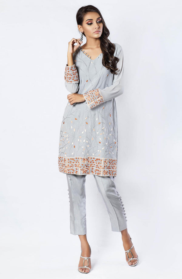 Grey tunic with burnt orange embroidery (tunic only)