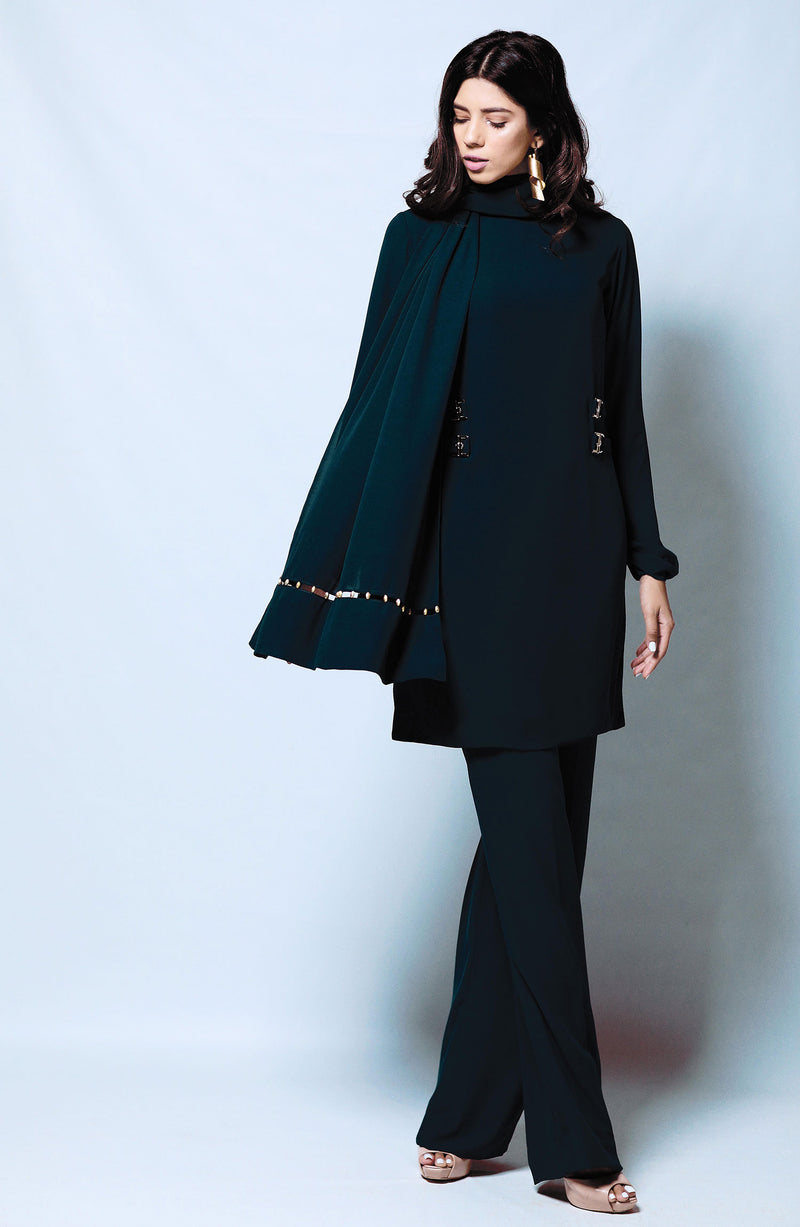 BLACK Kurta DETAILED WITH METAL BUCKLE ACCENTS AND MATCHING SEPARTE BLACK WIDE LEG PANTS