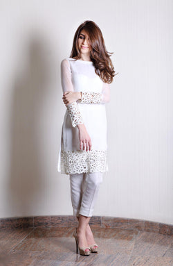 WHITE Kurta WITH CUTWORK ON SLEEVES AND DAMAN WITH RAW SILK CIGARETTE PANTS