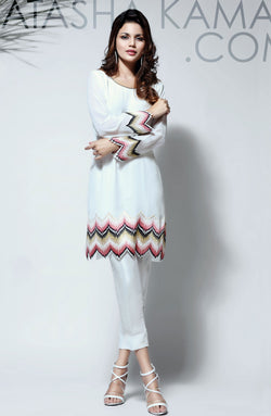 WHITE KURTA  WITH ZIG ZAG NEEDLEPOINT MULTI COLOURED EMBROIDERY ON SLEEVES AND DAMAN WITH CIGARETTE PANTS