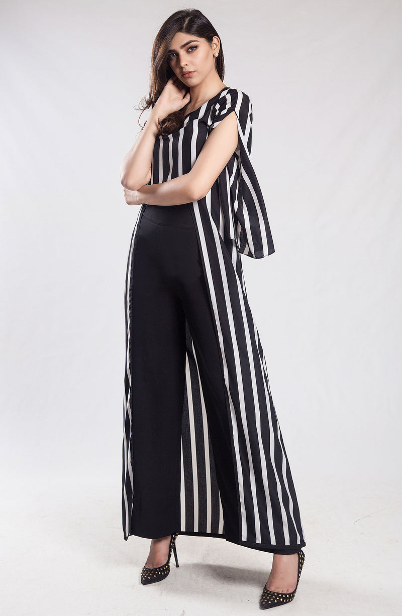 Black and white  striped tunic (one piece)