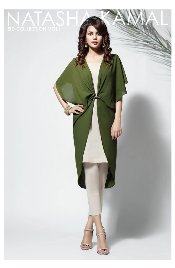 Green Georgette Cape with metal buckle (one piece)