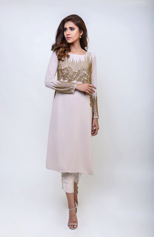 NUDE BEIGE KURTA WITH METALLIC GOLD HAND EMBROIDERED MODERN BEADWORK IN LONG LENGTH AND RAW SILK CIGARETTE PANTS