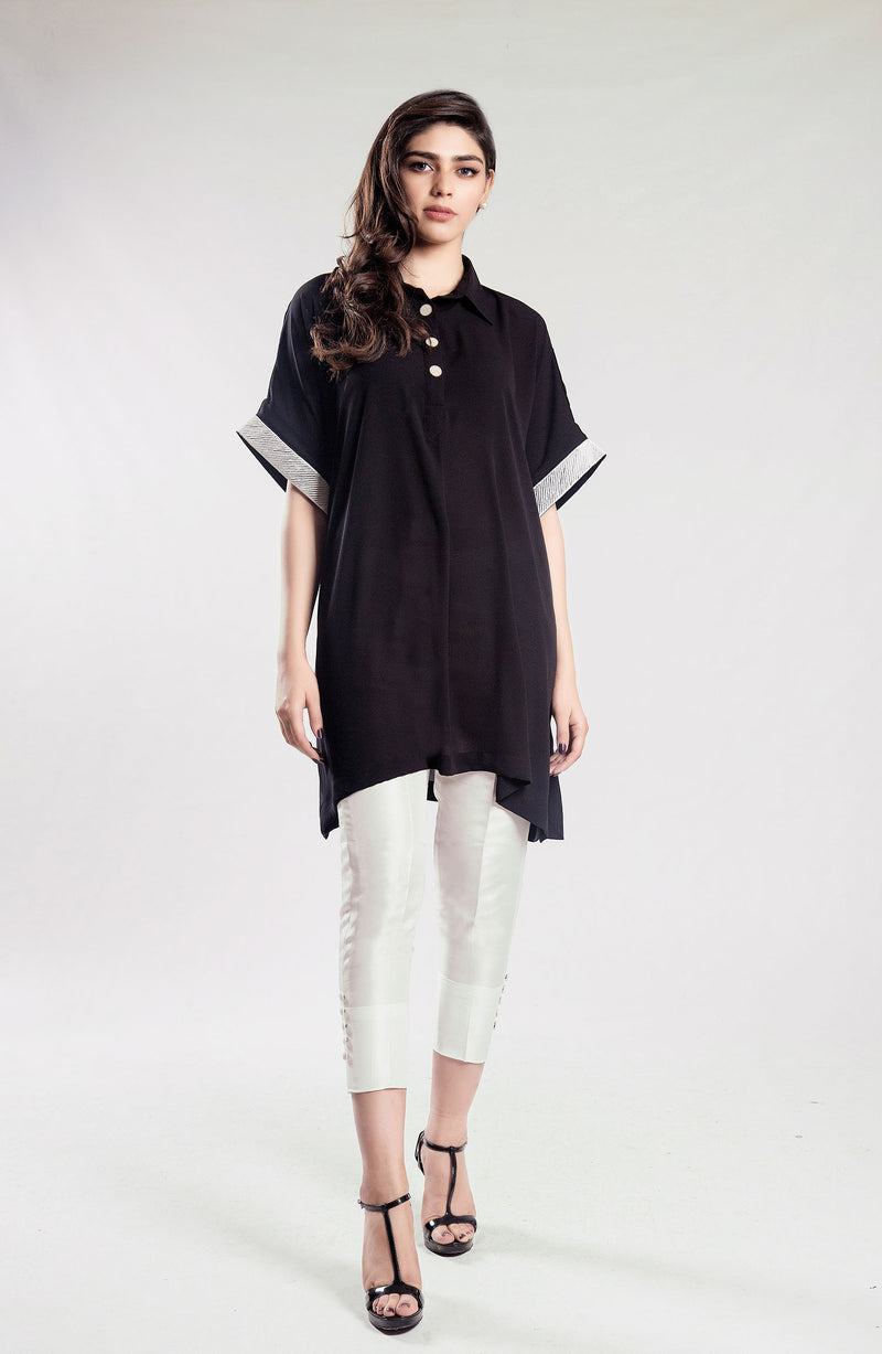 Black Solid box tunic with  embroidered sleeves (one piece)