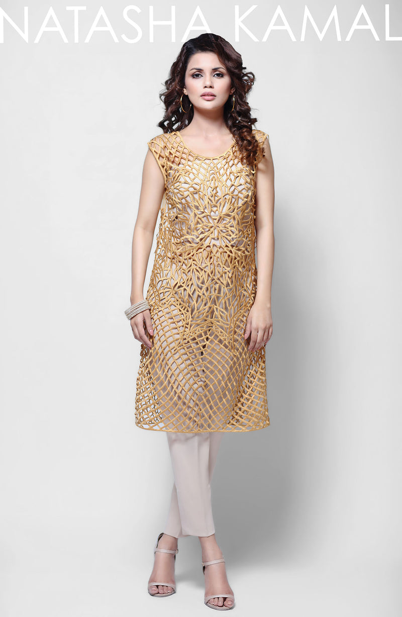 Dress-with cutwork gold tunic (3 piece set)