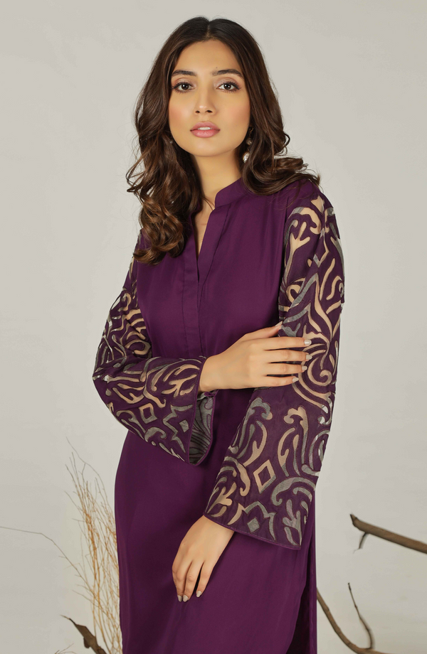 Purple tunic with handcrafted applique sleeves (tunic only)