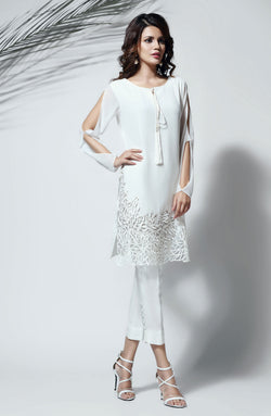 WHITE CHIFFON KURTA  WITH MODERN HAND CRAFTED CUTWORK EMBROIDERY AND WHITE RAW SILK CIGARETTE PANTS