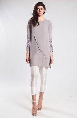 Grey -Cross-Over tunic (one piece)