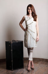 BIEGE COTTON NET Kurta WITH METALLIC TILLA EMBROIDERY AND GOLD SEQUINS DETAILING