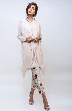 BEIGE JACKET AND TUNIC TOP WITH METAL BUCKLE ACCENT WITH 3D FLORAL EMBROIDERED CIGARETTE PANTS