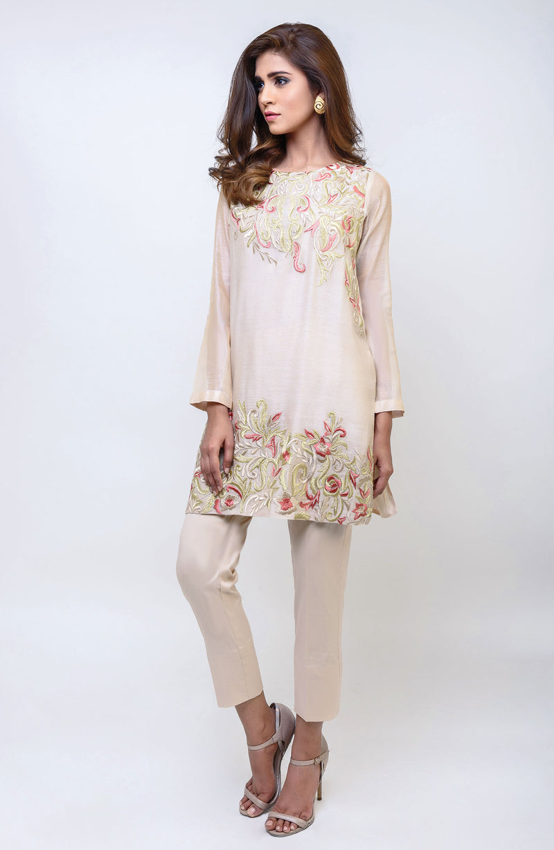 BEIGE COTTON NET SUMMER  KURTA WITH ORANGE AND GREEN EMBROIDERY ON NECKLINE AND DAMAN WITH COTTON SILK PANTS