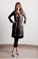 BLACK SHEER KURTA  WITH GOLD LINING AND HAND WORKED WITH CRYSTALS AND BEADS WITH BLACK CIGARETTE PANTS