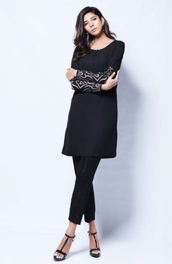 BLACK Kurta  WITH APPLIQUE SLEEVES AND RAW SILK CIGARETTE PANTS