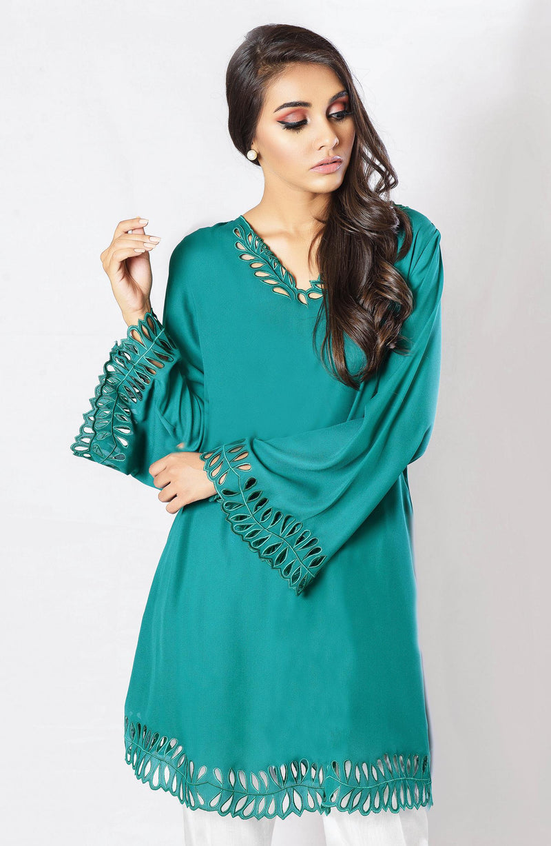 Green tunic with cutwork (one piece)