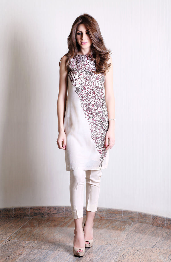 BEIGE COTTON NET  KURTA WITH MAROON MODERN EMBROIDERY ON FRONT AND SLEEVE  WITH COTTON SILK PANTS