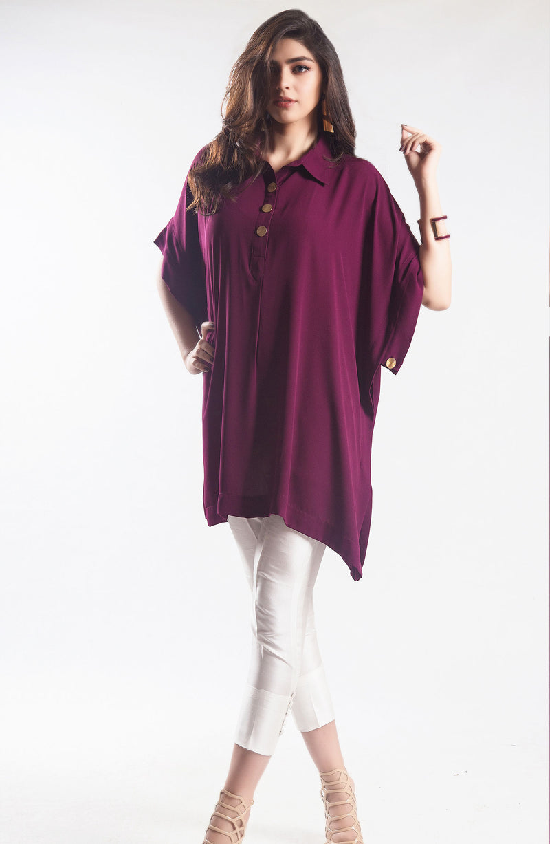Purple tunic with embroidered sleeves (one piece)