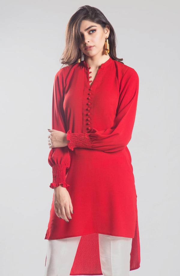 Red solid colour tunic (one piece)