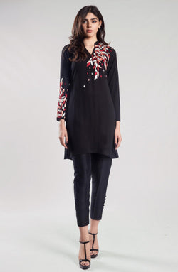 Black Tunic with multi coloured filigree (1 piece)