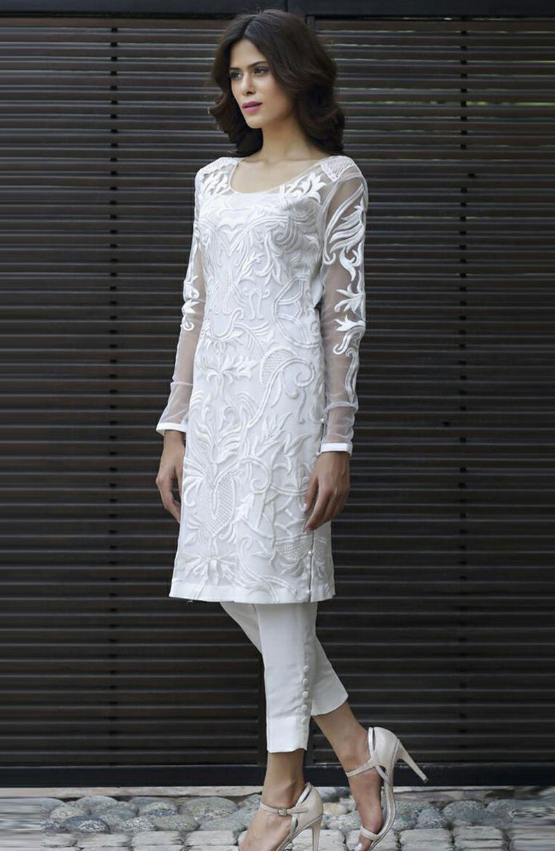 ALL WHITE  KURTA WITH FULL EMBROIDERY ON NET WITH CIGARTTE PANTS FOR PARTYWEAR