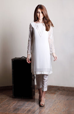 WHITE KURTA  IN PURE CHIFFON WITH HAND EMBROIDERED SLEEVES IN PEARLS RESHAM AND CRYSTALS WITH NET INSERTS AND WHITE CIGARETTE PANTS