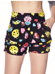 Shorts - Ladybug Hearts Print With Pockets